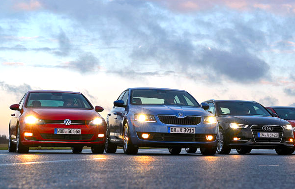 VW Golf Skoda Octavia Finland May 2014. Picture courtesy of autobild.de