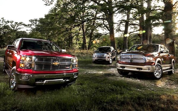 Chevrolet Silverado Ford F150 RAM 1500 World October 2013. Picture courtesy of caranddriver.com