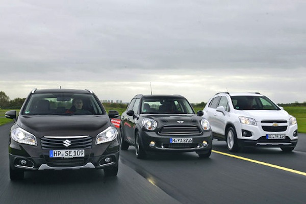 Suzuki SX4 S-Cross Mini Countryman Chevrolet Trax Swizterland November 2013. Picture courtesy of autobild.de