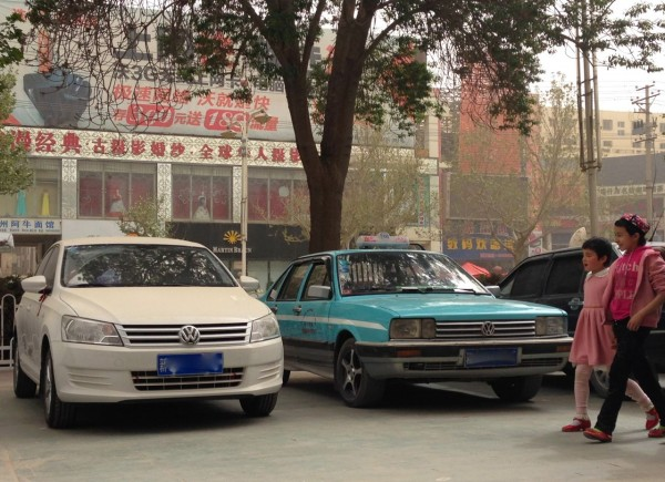VW Santana new and old Kashgar April 2014