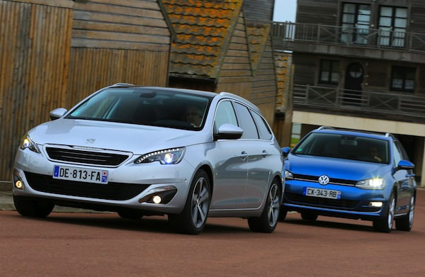 Peugeot 308 SW VW Golf Sweden June 2014. Picture by largus.fr