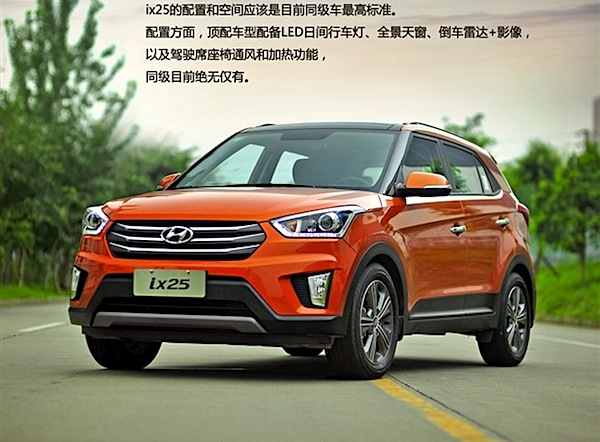 Hyundai ix25 China September 2014. Picture courtesy of huanqiu.com