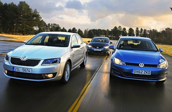 Skoda Octavia VW Golf Switzerland 2014. Picture courtesy autoexpress.co.uk
