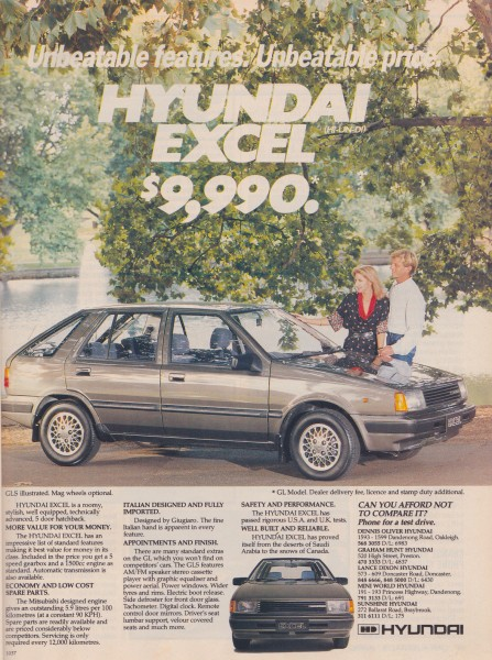 First Hyundai advert Australia April 1986